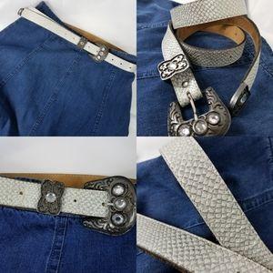 leatherock belt silver metalic S/M